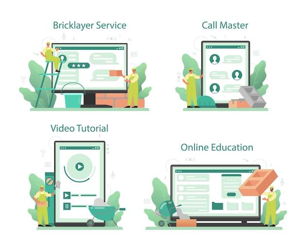 Bricklayer online-service oder plattform-set.