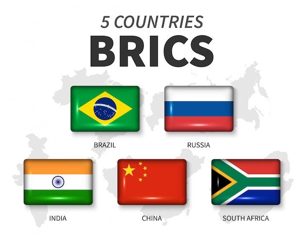 Brics- und mitgliedsflagge. verband von 5 ländern. glänzender knopf- und landkartenhintergrund des runden winkelrechtecks des mitglieds. vektor
