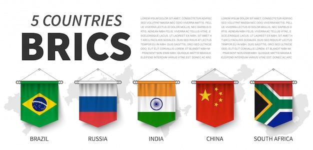 Brics. vereinigung von 5 ländern. realistisches hängen des wimpels 3d