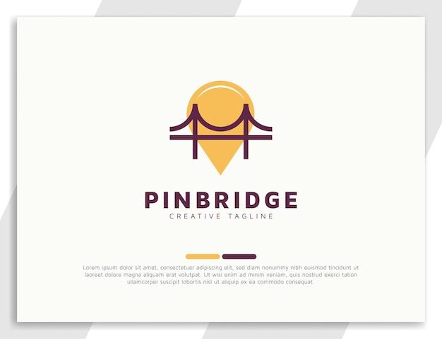 Bridge-logo mit pin-location-konzept