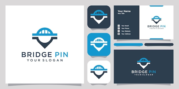 Bridge pin logo symbol symbol vorlage logo und visitenkarte