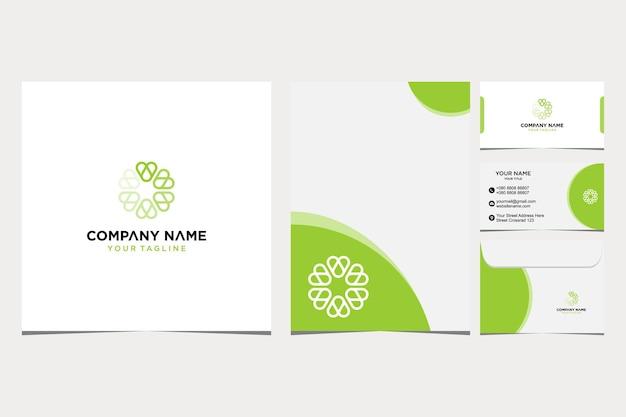 Brief a blumen logo design inspiration für firmen- und visitenkartenumschlag und briefkopf premium-vektor premium-vektor