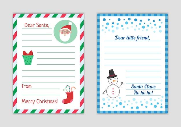 Brief an den weihnachtsmann vom kind weihnachtswunschliste leer isoliert antwortbrief an das kind vektorvorlage