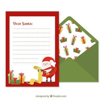 Brief an santa in einem roten rahmen und grünen umschlag