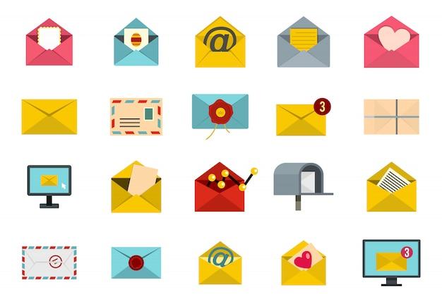 Brief-icon-set. flacher satz der buchstabevektor-ikonensammlung lokalisiert