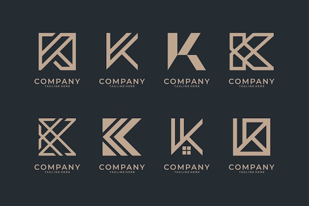 Brief k monogramm logo design-sammlung