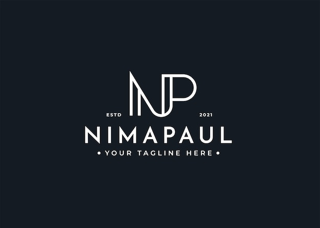 Brief np luxus-logo-design-vorlage