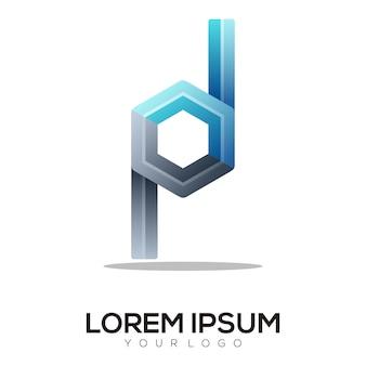 Brief pd bunte logo-design-vorlage modern