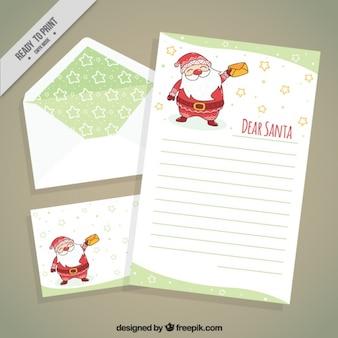 Brief von weihnachtsmann mit postkarte und umschlag