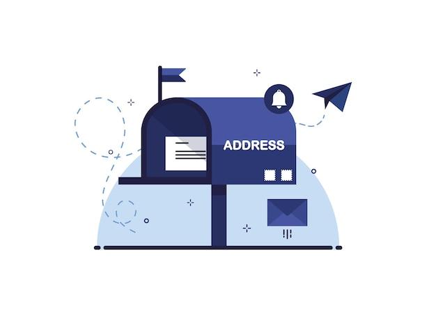 Briefkasten mit brief in einem umschlag als empfangs- oder sendebrief per postzustellung. blau