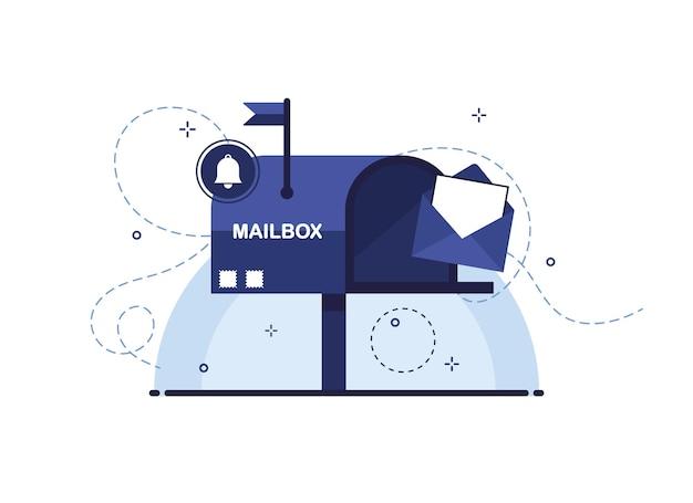 Briefkasten mit offenem brief in einem umschlag als empfangs- oder sendebrief per postzustellung. blau