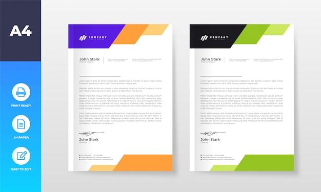 Briefkopf-entwurfsvorlage für firmenunternehmen Premium Vektoren