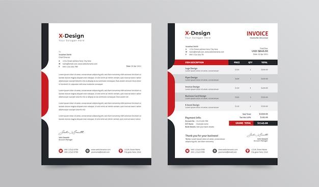 Briefkopf und rechnungsvorlage für unternehmen. professionelles business branding briefpapier