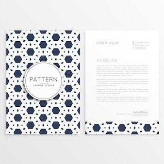 Briefkopf-vorlage mit abstrakten sechseck-muster