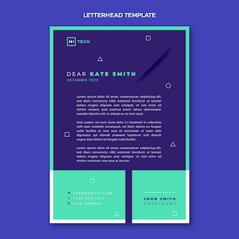 Briefkopfvorlage mit flachem design und minimaler technologie