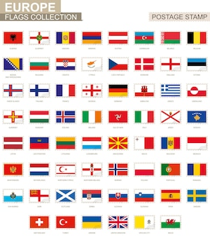 Briefmarke mit europaflaggen. satz von 62 europäischen flaggen. vektor-illustration.