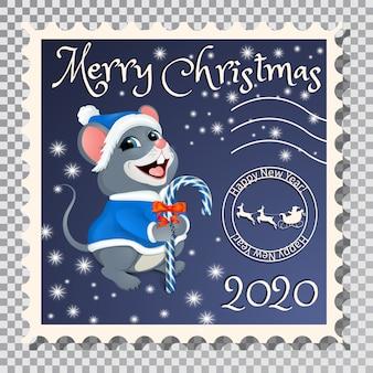 Briefmarke mit santa mouse.