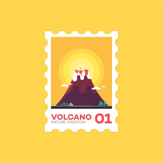 Briefmarke-vulkan-flache nette art-ikonen-vektor-illustration