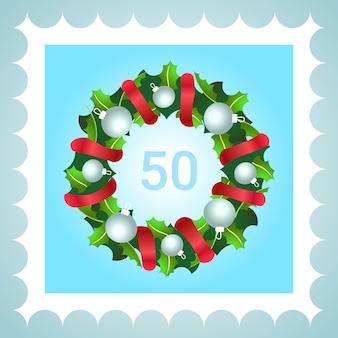 Briefmarke weihnachtsdekoration kranz mit roter schleife weiße kugeln flach