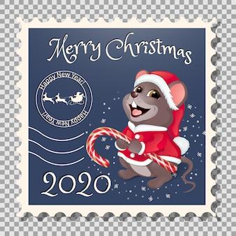 Briefmarke weihnachtsmann mit süßigkeiten