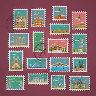 Briefmarken mit berühmten architektonischen kompositionen