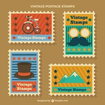 Briefmarken mit vintage-elemente in flaches design