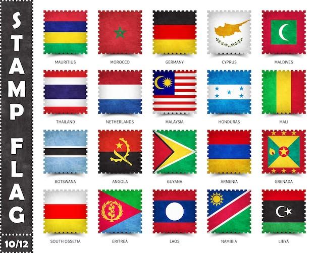 Briefmarkensatz der offiziellen flaggen der länder der welt