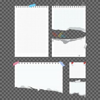 Briefpapier mit büroklammer und klebeband-set auf einem transparenten hintergrund isoliert.