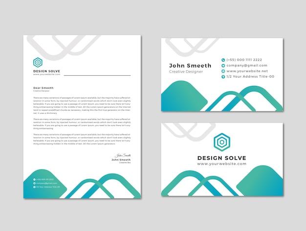 Briefpapier mit visitenkarten-design
