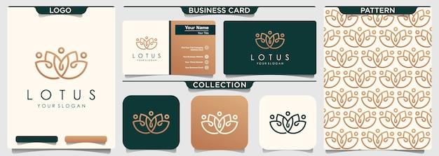 Briefpapier-satz des lotusblumenlogos mit muster und geschäftskarte