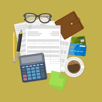 Brieftasche, kreditkarten, taschenrechner, kugelschreiber, bleistift, kaffee, brille, aufkleber für notizen.