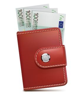 Brieftasche mit geld isoliert auf weiß