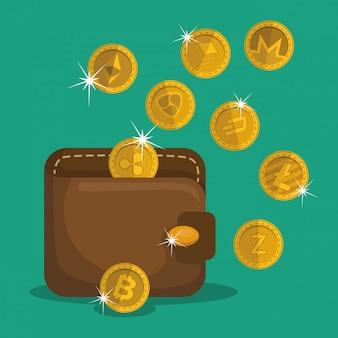 Brieftasche mit virtuellen münzen