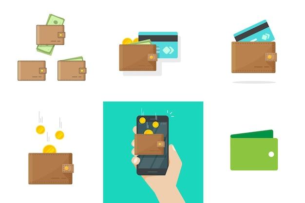 Brieftasche-vektor-set mit kreditkarten-geldmünzen einsparungen oder einkommen und handy digital