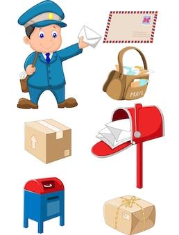 Briefträger mit tasche und brief