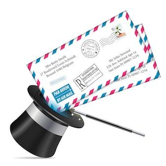 Briefumschläge mit zauberzylinder und zauberstab