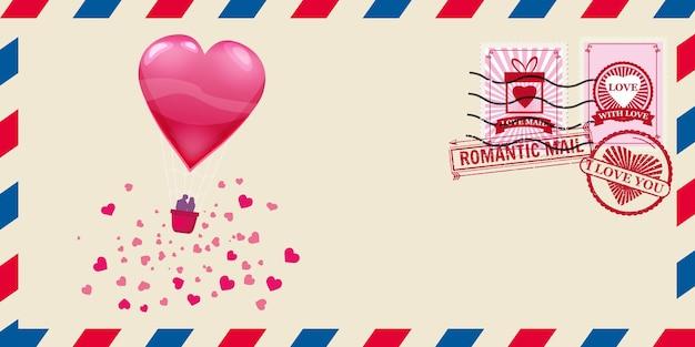 Briefumschlag für valentinstag mit herzförmigem ballon mit senken, poststempel