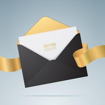 Briefumschlag. geöffneter schwarzer umschlag mit einladungskarte und goldenem band. hochzeitseinladungskartenentwurf. realistischer umschlag.