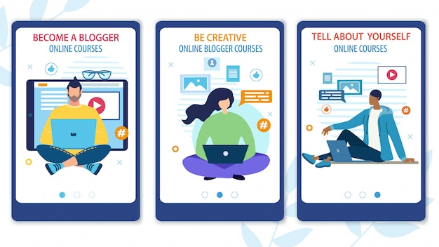 Bright flyer werden sie ein blogger online-kurs.