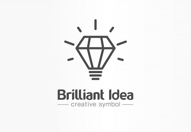 Brillante idee, kreatives symbolkonzept der glühbirne. tippe, innoviere, denke, inspiriere abstrakte geschäftslogo-idee. helle lampe, bildungsikone.
