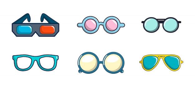 Brille-icon-set. karikatursatz der glasvektor-ikonensammlung lokalisiert