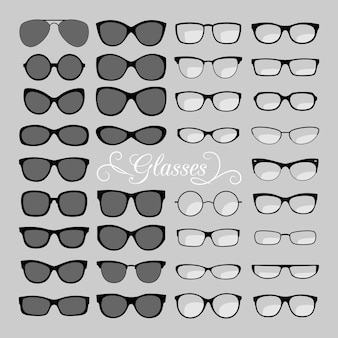 Brille icons set