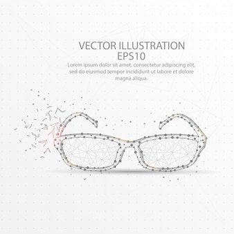 Brille low poly drahtgitter