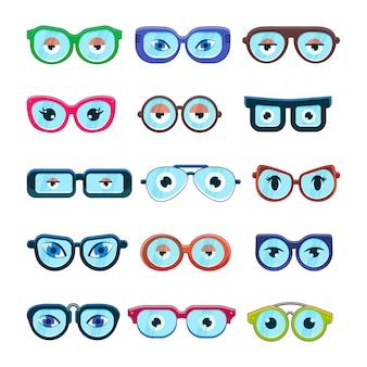 Brille mit augen cartoon brillengestell oder sonnenbrille in formen und zubehör für hipster mode optische rahmen brillen sehkraft ansicht set illustration isoliert auf weißem hintergrund