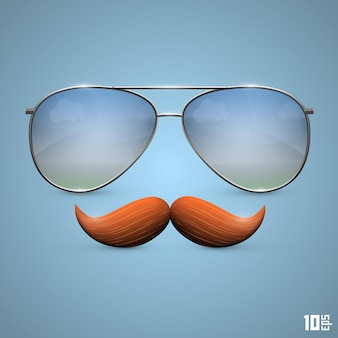 Brille mit schnurrbartobjekt. vektorillustrationskunst 10eps
