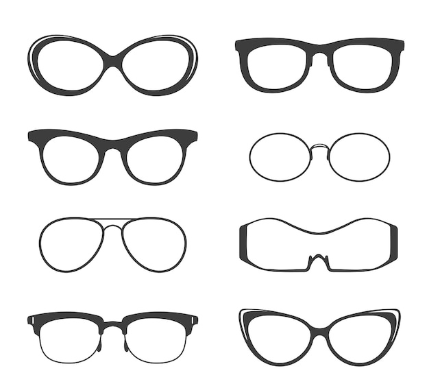 Brille schwarze silhouette gesetzt