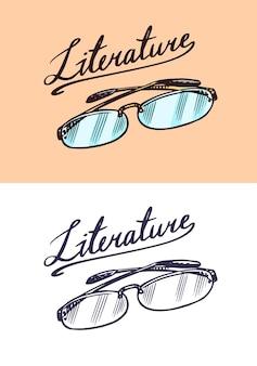 Brillen im vintage-gravur-stil schriftzug literatur retro-vektor-illustration für holzschnitt oder