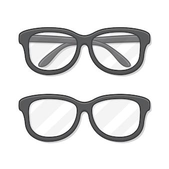 Brillen-symbol-illustration. flache ikone der schwarzen brille
