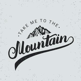 Bring mich zur handgeschriebenen typografie des berges