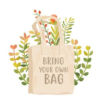 Bringen sie ihr eigenes taschenplakat mit. verwenden sie einen wiederverwendbaren baumwollbeutel